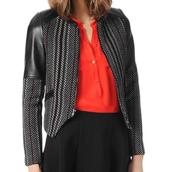 Parker Jackets & Blazers - Parker Holly leather panel tweed jacket S